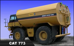 cat 773 water truck, water wagon, Holt spray king
